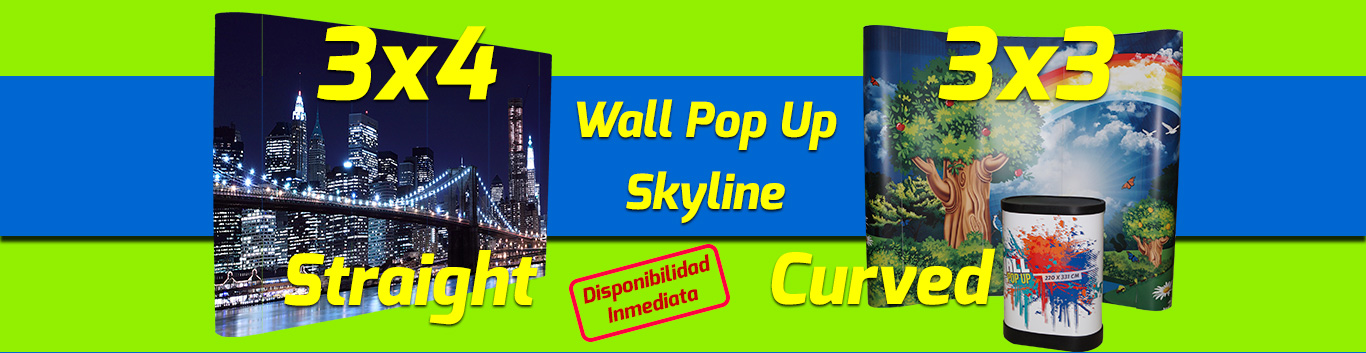 Wall Pop Up 3x3 y 3x4 straight - curved - Skyline